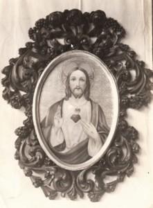 """Holzbildrahmen ausgemalt mit dem """"Herzen Jesu"""""""